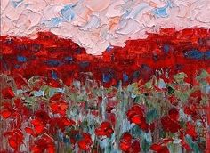 "Judith Babcock Artist-Colorado Landscape Painting ,Poppy Painting ""Red Mesa with Poppies"" by Colorado Impressionism Artist Judith Babcock"
