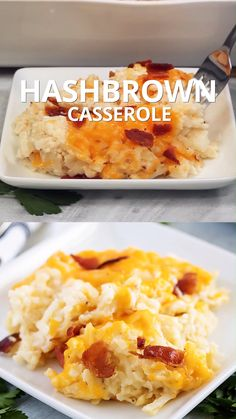 Our cheesy hash brown casserole recipe is loaded with all the things youd expect from this comforting dish; like, gooey cheese, smokey bacon, and diced onions. Hashbrown Breakfast Casserole, Potatoe Casserole Recipes, Hash Brown Casserole, Bean Casserole, Sausage Breakfast, Shredded Hashbrown Recipes, Brunch Recipes, Breakfast Recipes, Milk Recipes