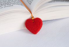 Needle Felted Wool Bookmark Red Heart  Bow Sculpture Wool Ribbon Decor Present Decoration Miniature Collection Ready to Ship