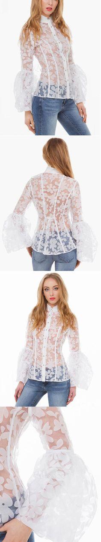 Colarinho branco carrinho bordado babados blusa de renda para mulheres