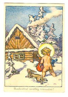 Old Czech Christmas Card 1935 Vintage Illustration Art, Putz Houses, Jingle Bells, Czech Republic, Postcards, Christmas Crafts, Beautiful Pictures, God, Drawing