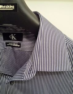 CK by Calvin Klein Size 16 1/2 Men's GRAY Striped Button Down Shirt #CK