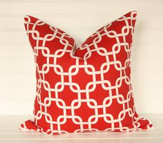 Red Interlock Pillow Cover 18x18 by TheLaceyPlacey on Etsy, $14.50