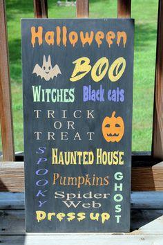 Halloween Subway Sign, Halloween Wood Sign, Halloween Wall Decor, Fall Wall Sign, Halloween Quotes Sign, Trick Treat, Halloween Decorating