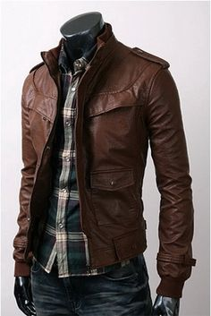 Mens Slim Fit Hand Made Korean Style Leather Jacket