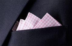 men's fashion accessories. pink gingham pocket square www.dripcult.com