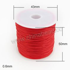 Cord Thread & Wire, Flat Crystal Elastic Cord, Red, Approx 0.6mm, 60 meters per spool, 25 spools per bag, Sold by bags