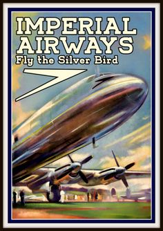 Art Print Imperial Airways Fly The Silver Bird 1950s