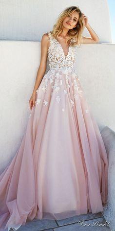 Eva Lendel 2017   Pretty pink a-line wedding dress with embellished bodice