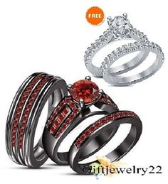 His & Her Red Garnet 14K Black Gold Finish Wedding Bridal Trio Band Ring Sets #Giftjewelry22 #EngagementRingWeddingRingAnniversaryRing