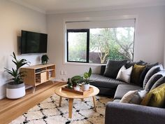 The Rookies Living Project Reveal Living Room Wall Units, Living Room Themes, Living Room Grey, Home Living Room, Living Room Designs, Living Area, Mustard Living Rooms, Light Gray Couch, Wooden Living Room Furniture