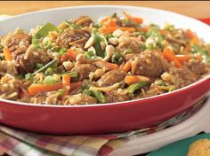 Asian Meatball and Rice Toss - Try this one-skillet meal for an Asian-inspired take on pasta with meatballs, here using convenient frozen meatballs and plenty of veggies. Asian Recipes, Beef Recipes, Cooking Recipes, Ethnic Recipes, Oriental Recipes, Asian Foods, Cat Recipes, Meatball Recipes, Recipes