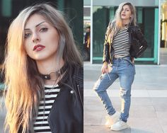 Lindsay Woods - Romwe Leather Jacket, Romwe Ripped Jeans Pants, Romwe Stripped Blouse, Ebay White Creeper Shoes - Sunset