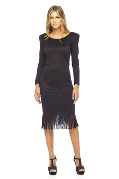 Fringe clothing is trending! This black dress is perfect for a party - add a sexy stacked heel and clutch for this amazing look. Cozy Winter Outfits, Winter Clothes, Fringe Dress, Buy Dress, Feminine, Sexy, Bali, Fashion Trends, Night