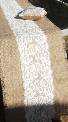 Buy Lace & Hessian/Burlap Table Runners - 3 Sizes or made to order.  We have made these runners up to 52 Feet Long for Barn Weddings by cowdogdesign. Explore more products on http://cowdogdesign.etsy.com