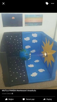 Picture only. Great way to explore day/night and earth rotation sistema solar SISTEMA SOLAR Kid Science, Science Projects For Kids, Preschool Science, Science Experiments Kids, Science Fair, Teaching Science, School Projects, Volcano Science Projects, Opposites Preschool
