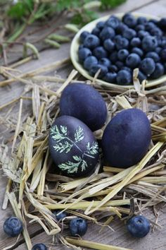 Natural dye designs for elegant Easter decorations Blueberry-dyed eggs Easter Egg Dye, Hoppy Easter, Easter Bunny, Easter Art, Easter Crafts, Holiday Crafts, Easter Ideas, Holiday Decorations, Diy Ostern