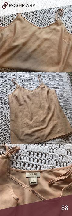 "J Crew Nude Cami Adjustable straps, v neck, thin 100% poly, bust is 19"", hem is 20"", size large, like new J. Crew Intimates & Sleepwear Chemises & Slips"