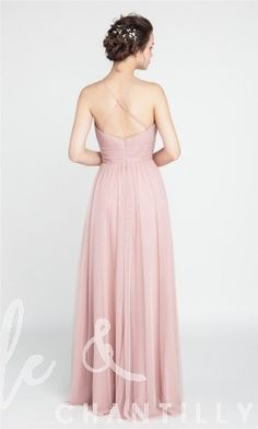 Long V-neck Tulle Bridesmaid Dress with Open Back TBQP406