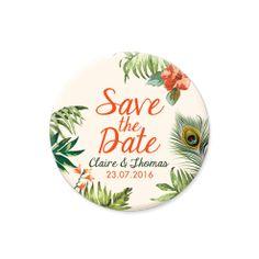 Save the date original, magnet personnalisé. Mariage tropical et exotique. Palmier, paon et ananas.