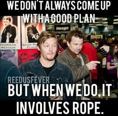 Norman Reedus & Sean Patrick Flanery - They saw what you did there. Because humping their legs is pretty obvious. Sean Patrick Flanery, Boondocks, Action Film, Stuff And Thangs, Daryl Dixon, All Saints, Norman Reedus, Movie Quotes, That Way
