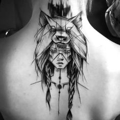 Sketch Style Indian Girl Tattoo Idea