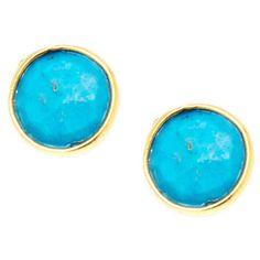 18k Goldplated Sterling Silver Round Bezel Turquoise Gemstone Stud Earrings