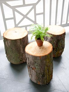 Stump for Seats  Sections of tree trunk serve as handy side tables or stools and add a rustic touch to the outside room. Four swivel casters on the bottom of each log make them easy to move. Add cushions for seating comfort.