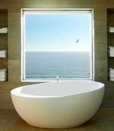 Tub with an ocean view in a Malibu home. By Burdge & Associates. Via Architizer: http://www.architizer.com/projects/7377-birdview/