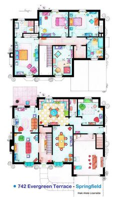 Highly Detailed Floorplans Of Popular TV Shows   The Simpsons, Big Bang Theory and More