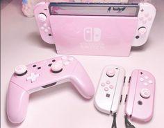 Gamer Setup, Gaming Room Setup, Desk Setup, Nintendo Switch Accessories, Gaming Accessories, Girly Things, Cool Things To Buy, Kawaii Games, Pink Games