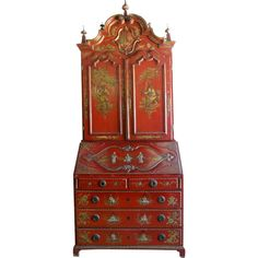 Red 18th Century Portuguese Chinoiserie Secretary | From a unique collection of antique and modern secretaires at http://www.1stdibs.com/furniture/storage-case-pieces/secretaires/
