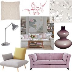 grey couch pink accents Grey Living Room on Interior Design