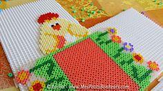 panier paques poules et fleurs perles hama