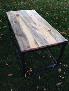 This Beetle Kill Pine top coffee table is a conversation piece you need in your home. Beetle Kill Pine (aka Bluestain) develops an amazing character Furniture Refinishing, Pallet Furniture, Painted Furniture, Stain Pine, Pine Beetle, Farm Style Table, Stained Table, Pine Table, Dining Room
