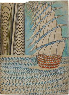 """beautiful drawing by Martin Ramirez an """"outsider artist"""" working between 1930 til his death in 1963."""