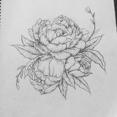 Classic Peony Flower Tattoo Design. I like the bud sticking out