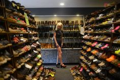 Jennifer Davy, of St. Paul, browses for clogs at Sven's Clogs in Chisago City. Davy made the trip from St. Paul specifically for this store.