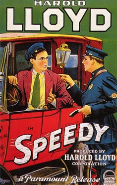 """Harold Lloyd was the first movie star to incorporate eyewear in an iconic persona. Babe Ruth was the most famous athlete in history. In 1928 both starred in a movie called """"Speedy"""". The film has some of the earliest location footage ever shot in New York City.- Harold Lloyd as depicted in a poster for his film """"Speedy"""" (1928)."""