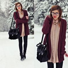 Big cozy sweater over a long button up, with rights and boots. Love this, the colors are also great for winter.