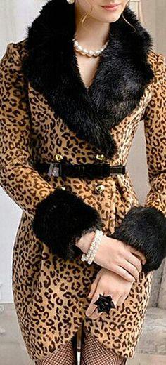 LUXE FAUX FUR COLLAR LEOPARD COAT DRESS