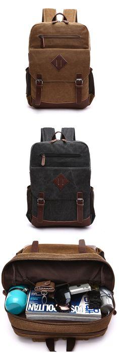 Unisex Vintage Canvas Backpack School Laptop Bag Hiking Travel Rucksack Bagail.com