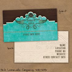 Cowboys And Angels Design Business Card Plus 500 Cards Front Back Full Color Turquoise Western Brown Matching Webset Website Graphics Av