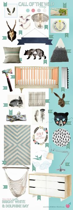 Call of the Wild | Nursery in Dolphine Bay - California Peach -- Girl, Pink, Peach, Blue, Aqua, Turquoise, Teal, Caravan Crib, Triangles, White, Ikea, Bear, Antlers, Bunny, Feathers, Feather, Hatchet, Outdoors, Wallpaper, Wall Decals, Baby Room, Nursery, Style Board, Mythic Paint, Non-Toxic, Green 0VOC, Eco Friendly, Organic
