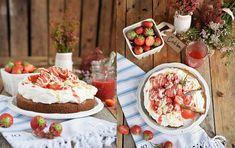 Kokos Erdbeer Kuchen mit Frischkäse Crème (Werbung)