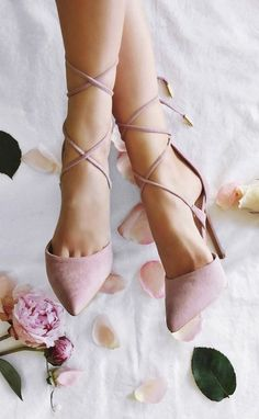 Pink suede heels.