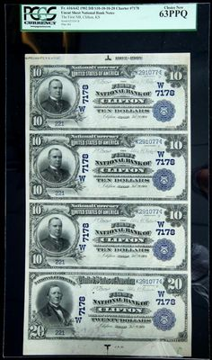 Clifton, KS - $10-$10-$10-$20 1902 Date Back Fr. 616/642 The First NB Ch. # (W)7178 Uncut Sheet. PCGS Choice New 63PPQ This Washington County bank was chartered in March 1904 and issued 1902 Red Seals, Date Backs and Plain Backs, along with 1929 Type I notes. Bold embossing and natural paper wave add to the visual appeal of this lovely uncut sheet of four. Uncut sheets of Nationals are currently enjoying a resurgence in popularity, and auction results have steadily advanced in recent months…