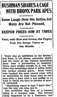 The New York Times report about Ota Benga on 9 September, 1906.