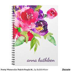 Pretty Watercolor Pink & Purple Multifloral Spiral Notebook