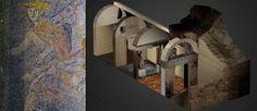 À gauche, la mosaïque découverte dans le tombeau d'Amphipolis. À droite, une reconstitution 3D du monument.